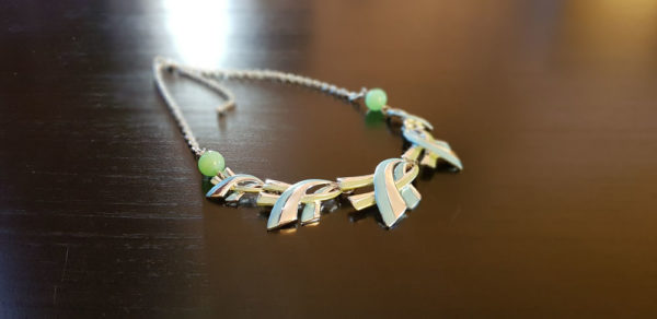 Collier 2 perles verte en verre de Murano