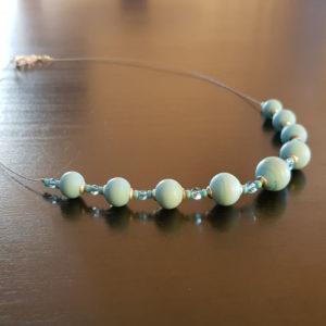 Collier 9 perle bleues turquoises dépolies en murano