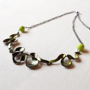 Collier ZigZag perles vertes en verre de Murano