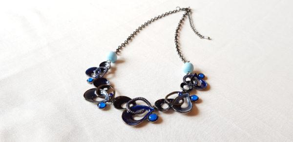 Collier fantaisie bleu perles en verre de Murano