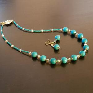Parure collier et bracelet perles vertes verre de muarno
