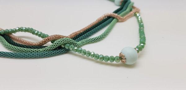 Sautoir 11 perles vertes depolies en verre de Murano